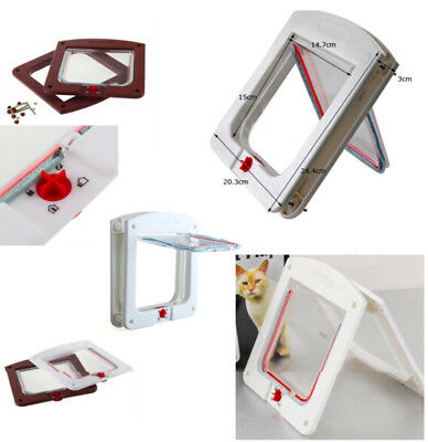 Dogs Cats Flap Door With 4 Way Lockable for Small Medium Pets Entry & Exit White