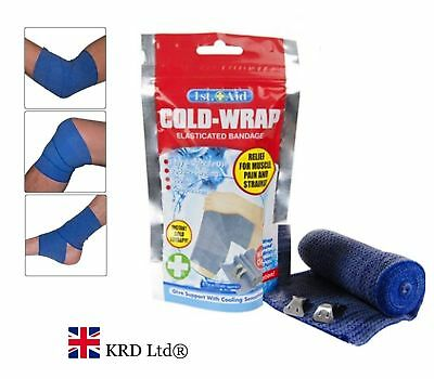 2x Elasticated COLD-WRAP COMPRESSION BANDAGE Muscle Swelling Pain Relief Therapy