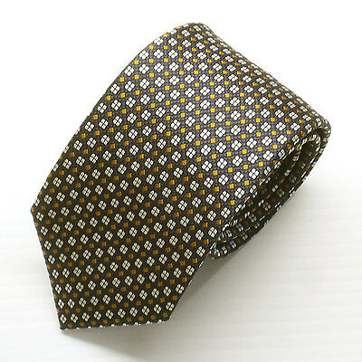 NWT Battisti Napoli Tie Black with Brown and White Geometric Made in Italy