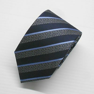 NWT Battisti Napoli Tie in Navy and Light Blue Stripes on Spiral Pattern