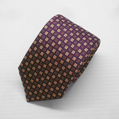 NWT Brioni Tie with Purple, Orange and Red Geometric 100% Silk Made in Italy