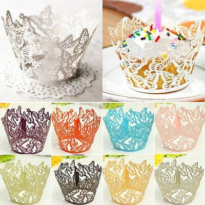 LC_ 12 Butterfly Muffin Cup cake Wrapper Wrap Case Xmas Wedding Birthday Liner