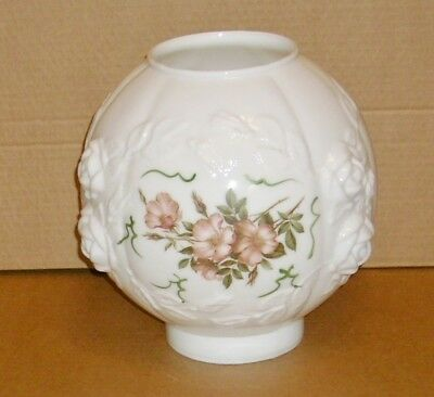 Antique Vintage Gwtw Hurricane Floral Painted Milk Glass Globe Shade