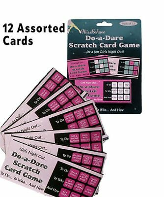 24 Pink Black Hen Party Bride to be Night Scratch do a Dare Cards Game