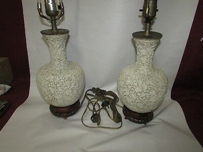 Pair Antique Chinese White Cinnabar or Carved Lacquer Vase Asian Lamps