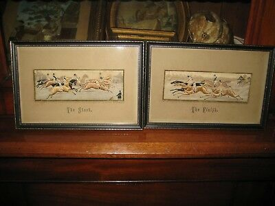 Pair Antique Silk Woven Stevengraph T. Stevens The Start & The Finish Pictures