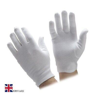 2 x 100% COTTON WHITE GLOVES Moisturising Eczema Butler Beauty Waiters Magician