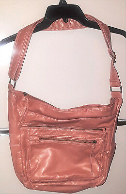BUENO-WOMEN'S SALMON/PINK COLOR LARGE SHOULDER STRAP PURSE-LOTS OF POCKETS-14x16
