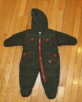 NWOT ROTHSCHILD Infant Baby Boys Army Green Quilted Snow Suit Bunting 6/9 Months