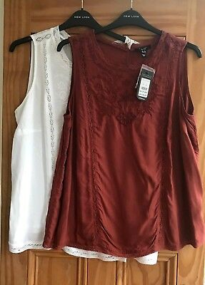 NEW LOOK Curves New White Brown Floral Embroidered Woven Top Plus Size 18 - 32