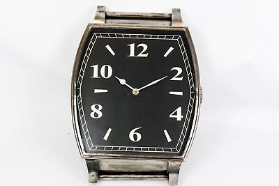 Black Silver Antique Effect Retro Handwatch Style Metal Wall Clock Home Decor