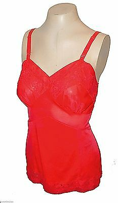 vintage 1950s, Cami Camisole, United Mills, rare Red Sexy Lace Nylon 34-Average