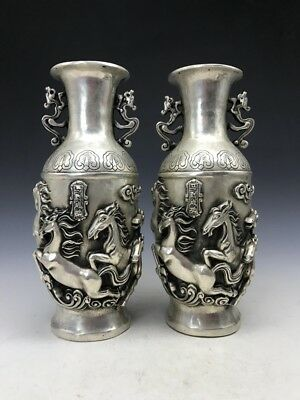 A pair of Chinese Tibetan silver vase pure hand-carved wan ma pentium image