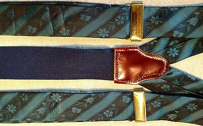 Suspenders teal floral stripe adjustable with brown leather