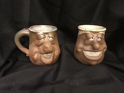 Vintage SILLY UGLY FUNNY Face Pottery Mug BIG NOSE LEICESTER STUDIO #0722 Stone!