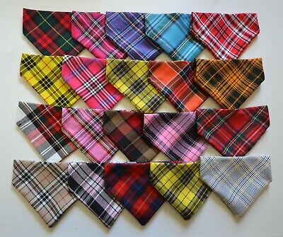 Dog Pet Puppy Cat Quality Tartan Bandana, Neckerchief, Slides on Collar, 4 sizes
