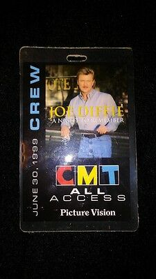 Joe Diffie A NIGHT TO REMEMBER CMT Crew ALL ACCESS Laminate Authentic Pass 1999