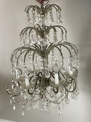 Large Antique Vintage Macaroni Beaded Crystal Chandelier French or Italian