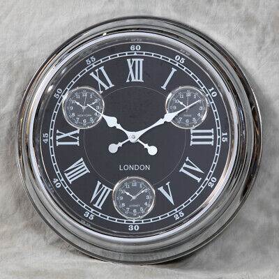 Retro Vintage Style London Multi Dial Wall Clock Chrome With Black Face