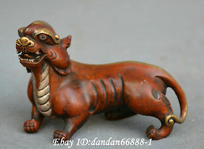 China fengshui old Bronze carve God beast pixiu brave troops wealth lucky statue