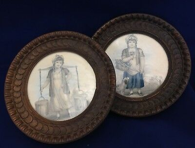 "Pair Victorian Style Antique Wood Carved Frames 5 1/4"" D W/ Engravings Girl &Dog"