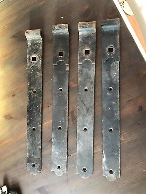 X 4 Large Antique Barn Find Iron Door Hinges Garden Gate Rustic Farmhouse Antiques