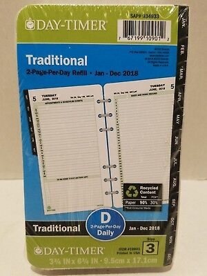 Day Timer Day-Timer Appointment 2PPD Ref. Planner Refills-DTM10801-JAN-DEC 2018
