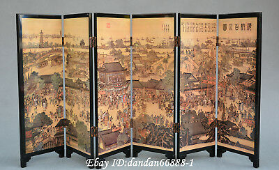 八仙过海) Chinese lacquerwork colour painting Eight Immortals folding screen byobu