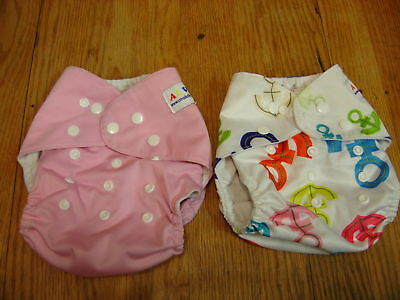 Alva Pocket Diapers Lot of 2 Pink and Anchors