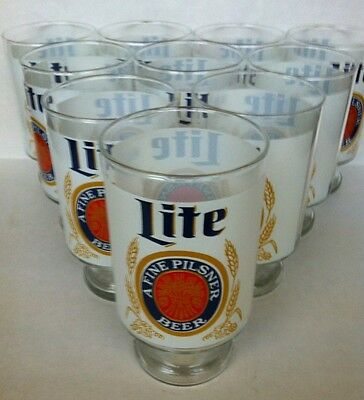 Miller Lite Large 30 Oz Pedestal Beer Glasses Lot of 10.