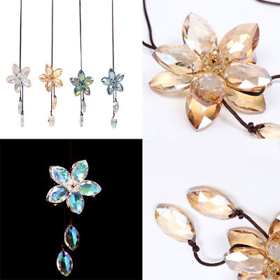 Crystal Flower Car Pendant Auto Rearview Mirror Ornament Hanging Charm Decor NT