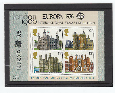 1978  Building Ms1058  With Europa Overprint  First Miniature Mini  Sheet -Mnh