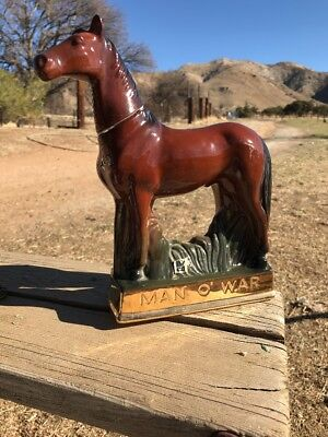 """Man O' War"" Race Horse By Ezra Brooks Whiskey Bottle Decanter 1969"