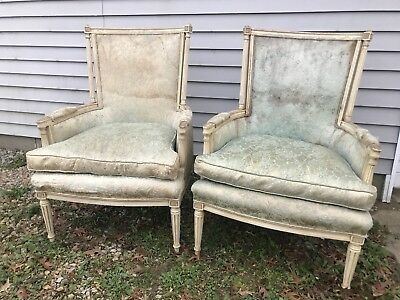 Pair Vintage French Hibriten Provincial Carved Wood White Chairs Project