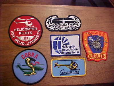 Lot of 6 Helicopter Patches Longbow Apache Schweizer Cobra Military  & Civilian
