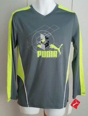 NEW Boys PUMA Cat sports SHIRT Smoke Gray M Medium 10-12 NWT $30 Long Sleeve