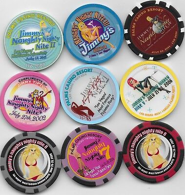 9 Different Casino Chips From PALMS (JIMMY's NAUGHTY NITE) Series-Neat Lot