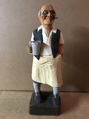Vintage Hannah Family Wood Carving Folk Art Bartender VT