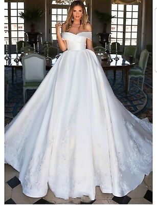 Luxury Satin White Ivory lace Off Shoulder Ball Gown Wedding Dresses Size 6-22