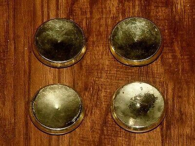 Vtg Brass Plated Round Concave Cabinet Door Handle Drawer Knob Pull Set Lot Of 4