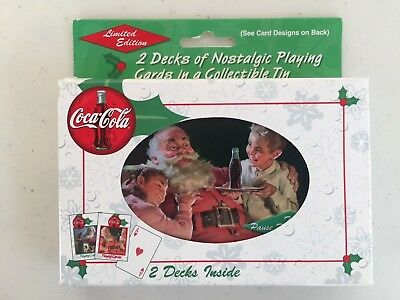 1999 Coca Cola, Coke, Nostalgia Playing Cards 2 Decks Santa Tin Christmas