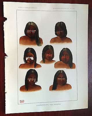 Late 1800s Color Book Plate, Characteristic Face Painting Native American Indian