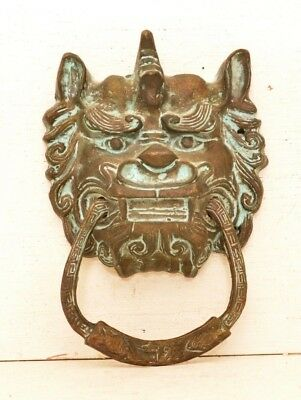 Antique Brass Chinese Foo Dog Drawer Cabinet Pull Towel Ring Meditation Dragon