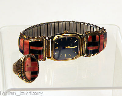 Navajo Gold Ring and Watch with Inlaid Jet and Coral, Ring Size 11