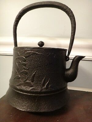Signed Antique Tetsubin Japanese Cast Iron Tea Pot Kettle NO RUST Bamboo Motif