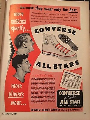 Original Vintage 1953 CONVERSE Chuck Taylor ALL STAR BASKETBALL SHOES Print Ad