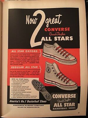 Original Vintage 1957 CONVERSE Chuck Taylor ALL STAR BASKETBALL SHOES Print Ad