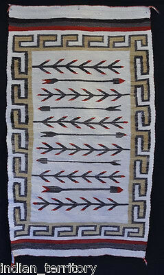 """Navajo Rug Pictorial with Corn Plants and Arrows c.1930 59"""" x 36"""""""