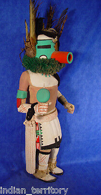 """Hopi Very Large Early Hunter Kachina c.1940 19"""", 23"""" with Feathers"""