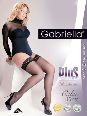PLUS SIZE Sheer Hold Ups Gabriella Calze 15 Den Stockings   *FAST&FREE SHIPPING*